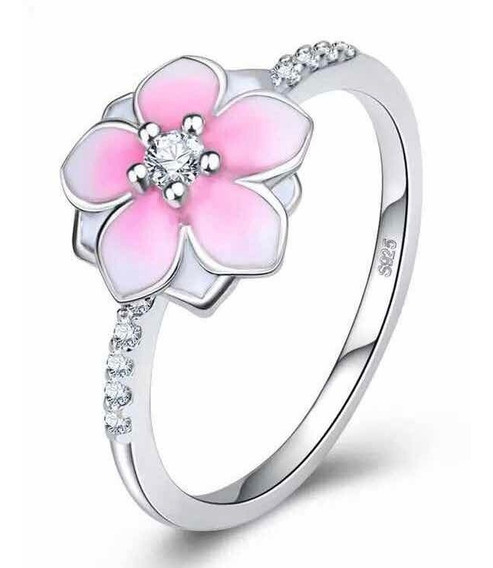 Anillo Flor Magnolia Bloom Estilo Pandora Plateada