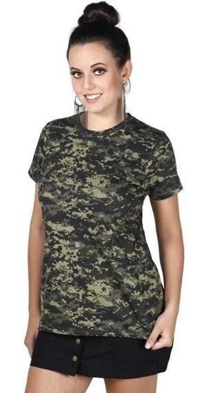 Camiseta Feminina Soldier Camuflado Pântano