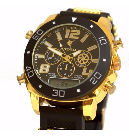 Relógio Masculino Militar Grande Barato Dourado