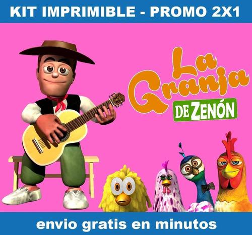 Kit Imprimible La Granja Zenon Rosa Candy Bar Promo 2x1