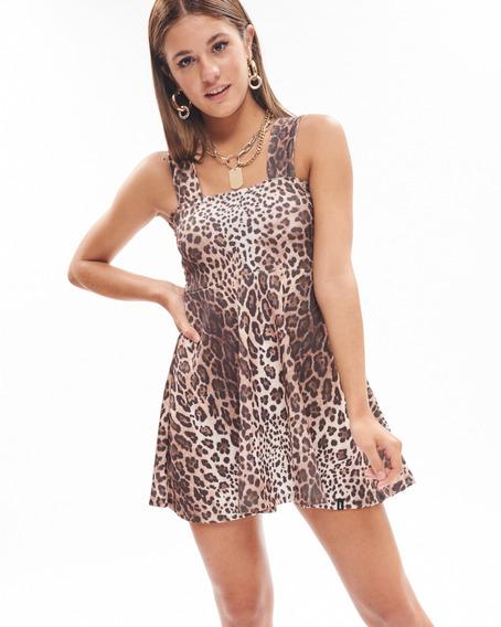 Vestido Pixie Leopard Escote Recto Estampado Mujer 47street