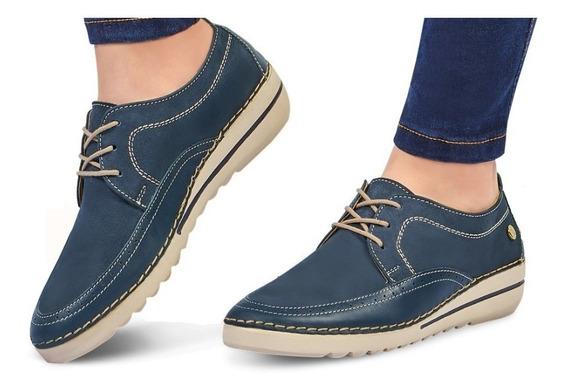 Calzado Zapato Dama Mujer Comodo Piel Genuina Color Azul