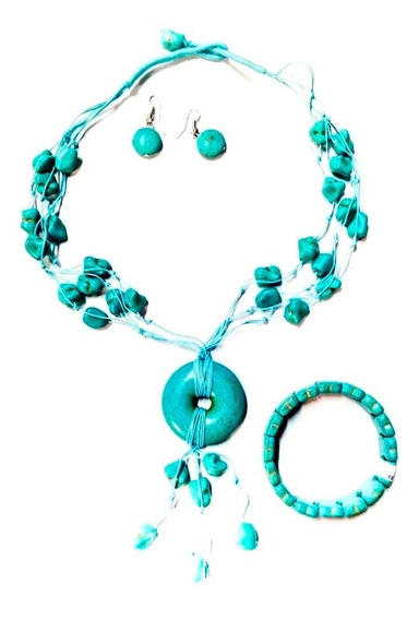 Collar Fantasía Color Turquesa Con Aretes Y Pulsera