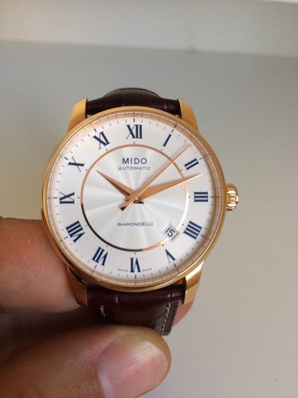 Relógio Suiço Mido Baroncelli Automático Ouro Rose M86002218
