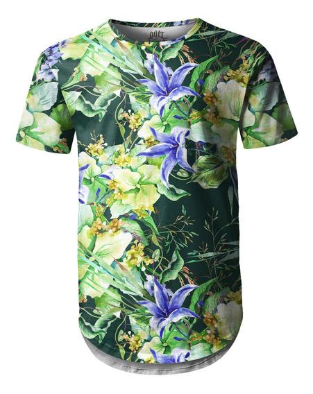 Camiseta Masculina Longline Swag Jardim De Campânula