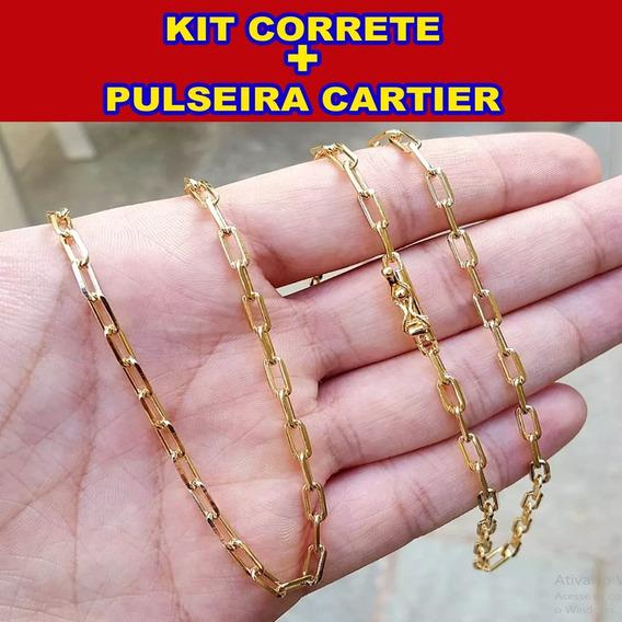 Kit Corrente + Pulseira Cartier 5mm Ouro 18k Masculina Estilo Alfa