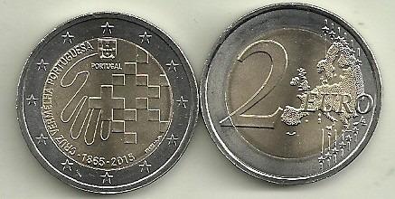 Moneda Portugal Bimetalica 2 Euro Año 2015 Cruz Roja