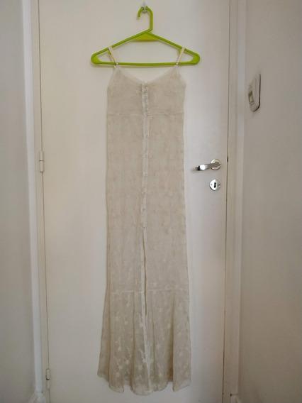 Vestido De Encaje Blanco De Materia Para Mujer