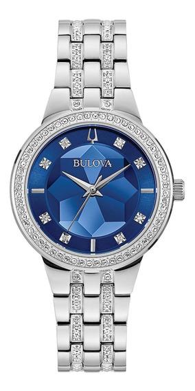 Relógio Feminino Bulova Crystals Aço Prata 96l276