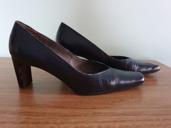 Zapatos De Cuero Talle 37 Negro