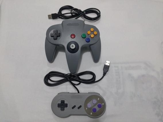 Kit Controle Super Nintendo Controle Nintendo 64 Emulador Pc