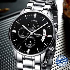 Relógio Masculino Nibosi 2309 Prata Luxoso Original