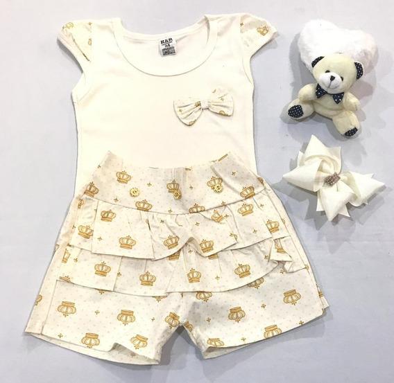 Conjunto Shorts Saia Com Blusinha E Tiara/laço Menina Criança Infantil Tradicional Algodão Feminino