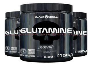 3x Glutamina 150g - Caveira Preta - Black Skull