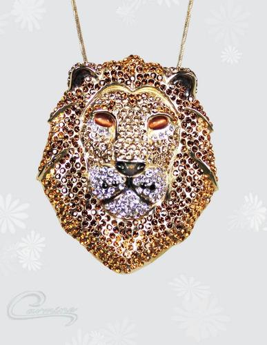 Colar Leão, Pingente, Folheado, 10 Camadas Ouro 18k ,joia