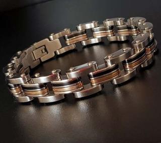 Bracelete Pulseira Masculina Aço Detalhes Banhado Ouro 18k