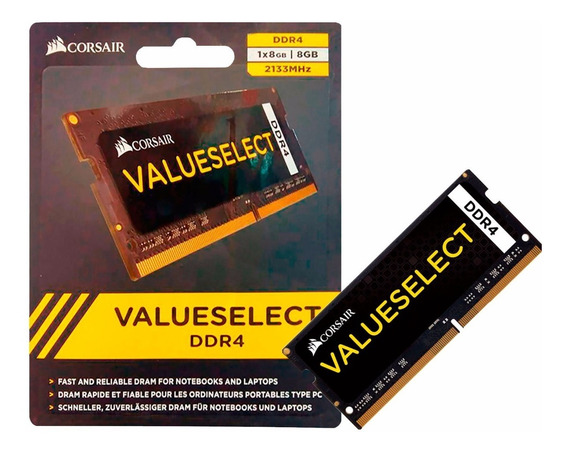 Memória Ddr4 Para Notebook 8gb 2133mhz Corsair Value Sodimm