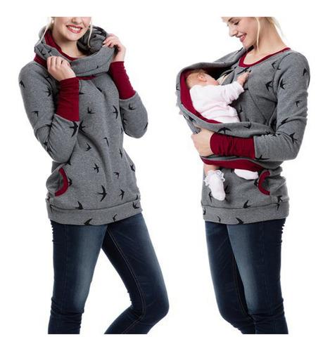 Imagen 1 de 6 de Sudadera Con Capucha Mujer Embarazada Maternidad Lactancia