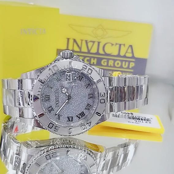 Relógio Invicta 22706 Prata Aço Inox Romano Feminino * Angel