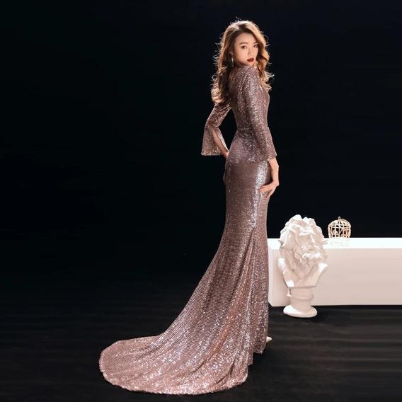 Hermoso Vestido De Noche Rosa Doradonueva Colección 2020