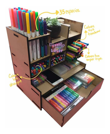 Organizador de escritorio grande de madera con soporte para l/ápices cajones de escritorio color blanco 32,5 x 26,5 x 22,5 cm almacenamiento para la oficina en casa y la escuela