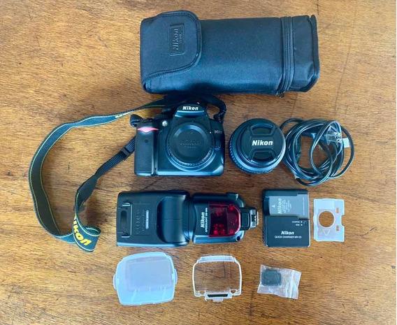 Câmera Nikon D5000 + Lente Nikon 18-55mm + Flash Sb 900