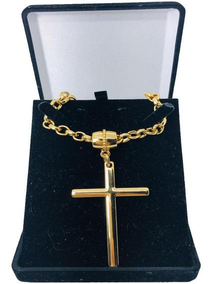 Colar Corrente Feminino Crucifixo Elo Português Grosso