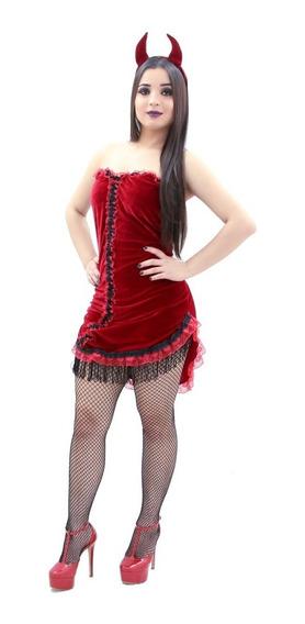 Fantasia De Diabinha Adulto Carnaval Halloween Vestido Diaba