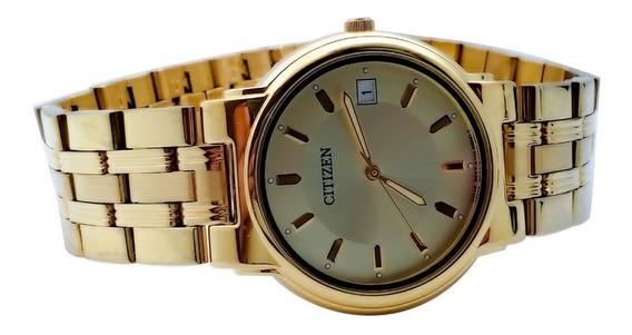 Reloj Para Caballero Citizen Chapa De Oro Con Fechador