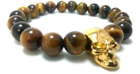 Pulseira Masculina Pedras Olho De Tigre Caveira Ouro Skull