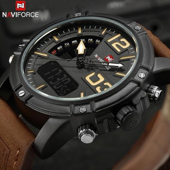 Relógio Militar Wa027 Naviforce Calendário Puls Couro Marrom