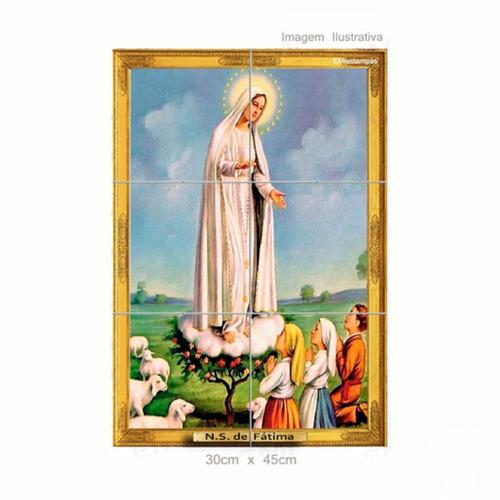 Quadro Azulejo Nossa Senhora De Fátima E Os Três Pastores
