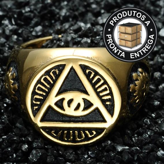 Anel Ouro 18k Aço Inox Illuminati Maçonaria Hip Hop Olho Dourado Metal Moto Punk Caveira Mc Funk Ostentação Lxbr A36