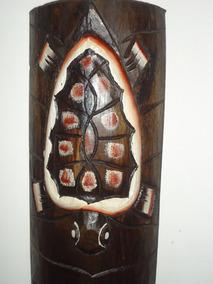 Mascara De Madeira De Bali Com Simbologia Da Tartaruga