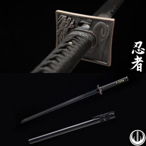 Imagem 1 de 10 de Espada Ninjato Lâmina Negra Afiada Aço Dobrado Forjado