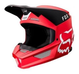 Casco V1 Mata Rojo Motocross Visera Magnetica Fox