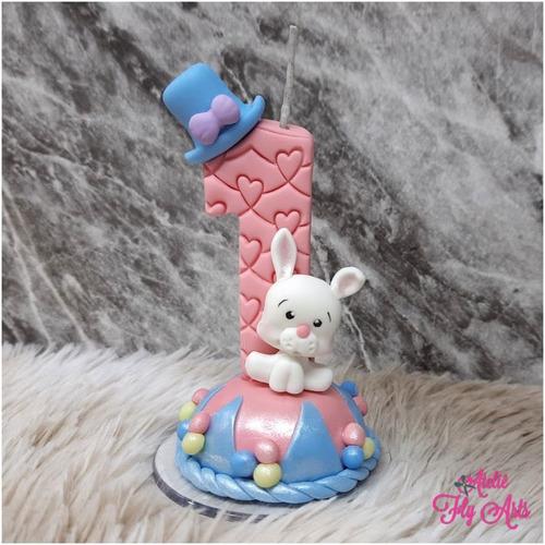 Imagem 1 de 2 de Vela Decorada Em Biscuit Circo Rosa Personalizada
