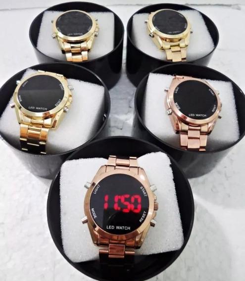 Mega Kit No Atacado 5 Relógios Feminino Metal Digital+caixa