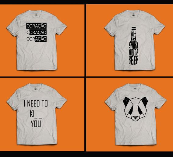 Kit Com 04 Camisetas 100% Algodão Ecológico (unissex)