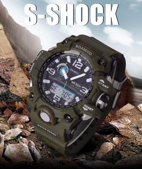 Relógio Masculino Anti Shock Esportivo Militar Boamigo F5100
