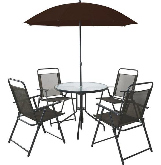 Jogo De Mesa Com 4 Cadeiras E Guarda Sol, Sunfit