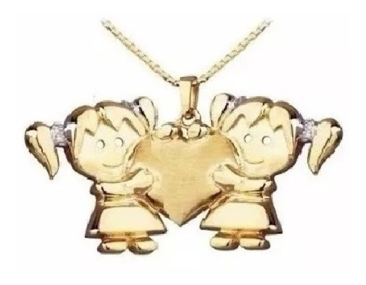 Pingente De Ouro 2 Meninas G Em Ouro 18 Quilate E Diamantes