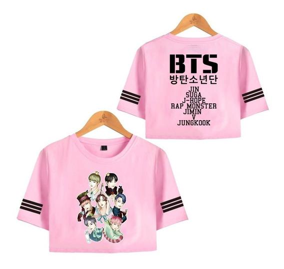 Camiseta Cropped Bts Kpop Army Integrantes Rostos Feminino