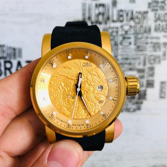 Relógio Invicta 19546dragao Preto Dourado Automático Yakuza