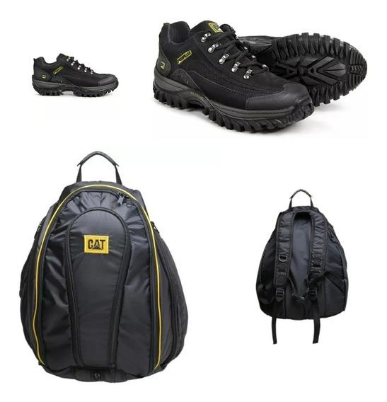 Tênis Couro +mochila Ipermeavel Caterpillar Lançamento
