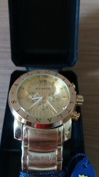 Relógio Atlantis Dourado - Muita Qualidade