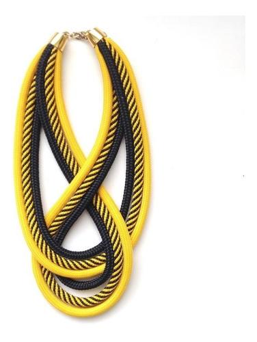 Colar De Corda Mila Amarelo Listra Preto
