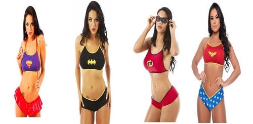Kit Fantasia Feminina Sensual Super Heróis Present Namorados
