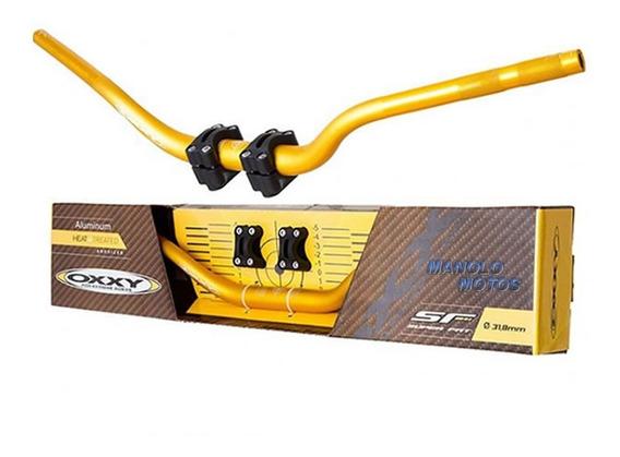 Guidão Para Moto Oxxy Super Fat Alto Dourado + Adaptador