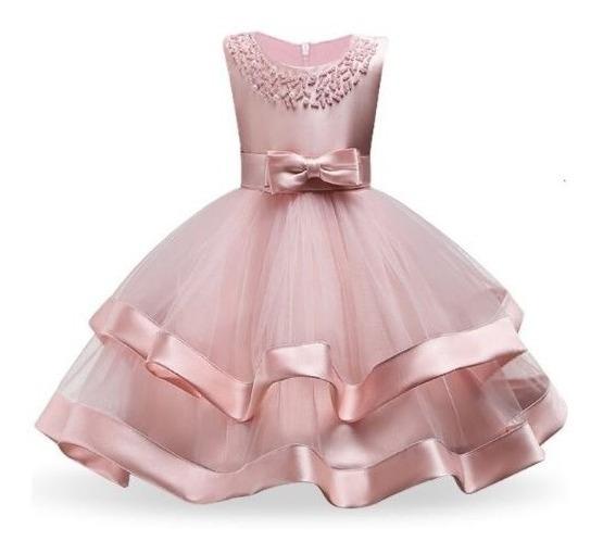 Vestido Importado Infantil Con Perlas
